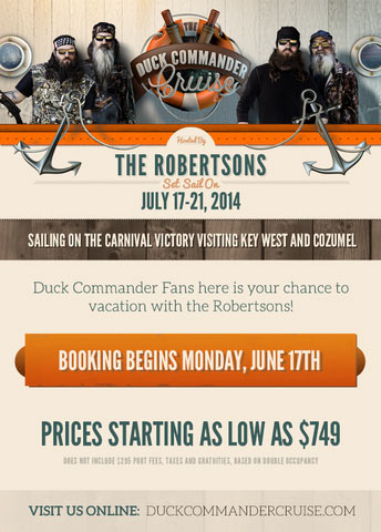 announces 2014 cruise with duck dynasty cast duck commander cruise to